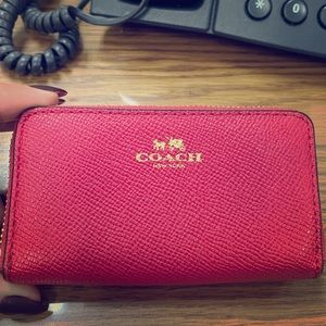 Pink and gold authentic coach small wallet